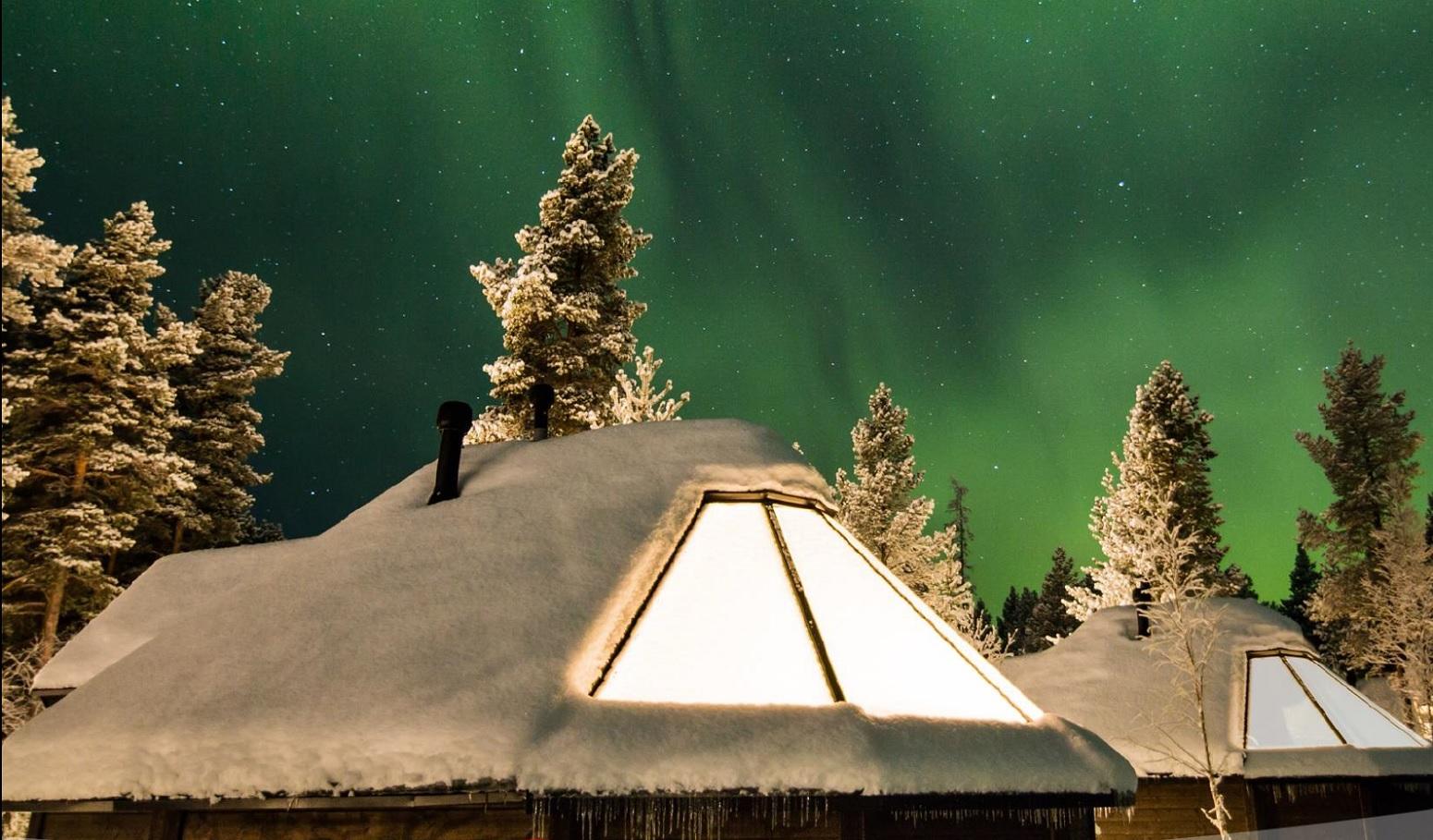 cabañas iglu aurora boreal laponia Finlandia